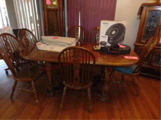 Wood dining table w  1 leaf   6 chairs