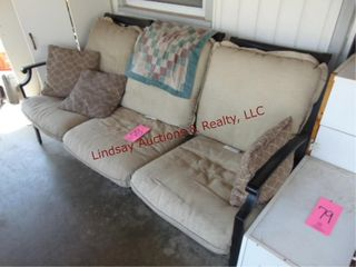 Metal frame couch w  cushions 74 x 37 x 36