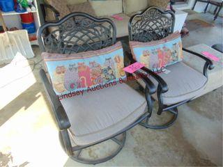 2 metal frame rocking chairs w  cushions
