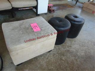 3 stools  23 x 19 x 16 5   15 x 15 round