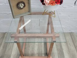 Rose Gold Side Table with Glass Top