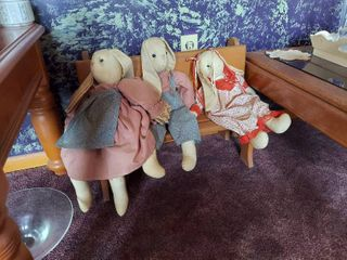 Wood Bench with 3 Bunnies