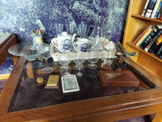 Contents on Coffee Table   Tray and Glassware