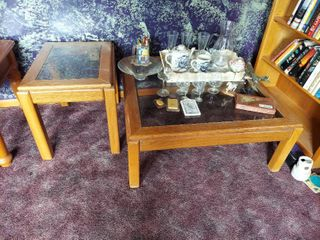 Glass Top Coffee and End Tables   Contents Not Included