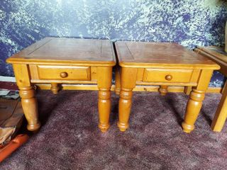Pair of End Tables with Drawer
