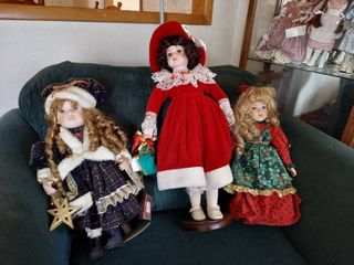 3 Dolls on Stands