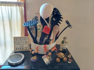 Utensils and Decor on Top of Microwave
