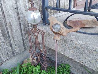 2 Metal Yard Decor Stakes with Glass Balls