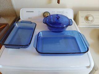 Blue Pyrex Baking Dishes
