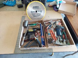 Assorted Tools   Squares  Saw Blade and Torch