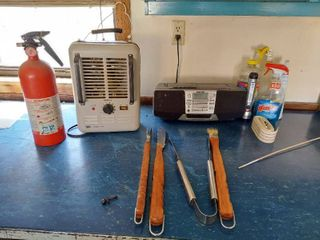 Sony Radio  Heater  Fire Extinguisher and Grill Tools