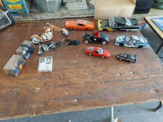 Assorted Model Motorcycles and Cars  2 are Missing Wheels