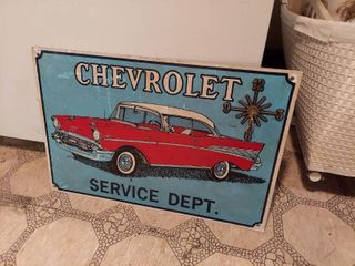 Chevrolet Tin Sign with Clock