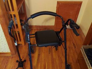 Walker with Seat and Cane