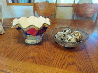 Basket with Decorator Balls and Bowl
