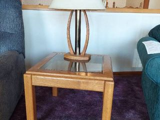 Oak Glass Top End Table with lamp