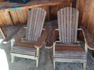 2 Folding Adirondack Chairs   loose  Need Repaired
