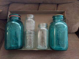 Assorted Jars   2 Green Ball Jars