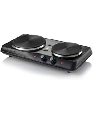 Ovente Countertop Electric Double Burner with Adjustable Temperature Control