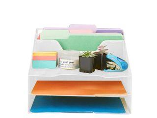 Mind Reader 5 Section Mesh Desk File Organizer  Mesh Desk Organizer 5 Trays Desktop Document letter Tray for Folders  Mail  Stationary  Desk Accessories  White