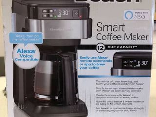 Hamilton Beach   Smart 12 Cup Programmable Coffee Maker  Alexa Certified   Black