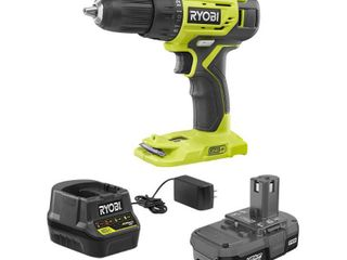 RYOBI 18 Volt ONE  lithium Ion Cordless 1 2 in  Drill Driver Kit with  1  1 5 Ah Battery and 18 Volt Charger