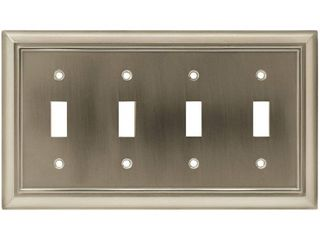 Hampton Bay Nickel 4 Gang 4 Toggle Wall Plate  1 Pack  Satin Nickel