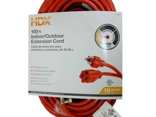 HDX 100 ft  16 3 Indoor Outdoor Extension Cord  Orange