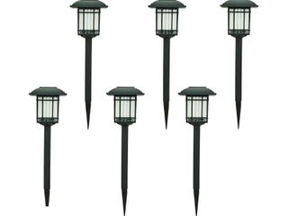 Solar Black Outdoor Integrated lED 3000K 6 lumens landscape Pathway light  6 Pack