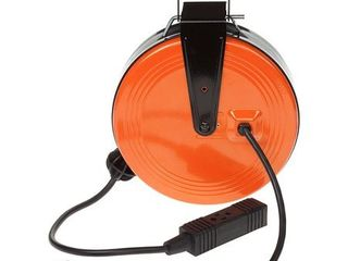HDX 30 ft  16 3 Heavy Duty Retractable Extension Cord Reel with 3 Outlets