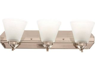 Hampton Bay Tavish 3 light Brushed Nickel Vanity light with Frosted Shades