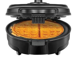 Chefman Anti Overflow Belgian Waffle Maker w Shade Selector  Temperature Control  Mess Free Moat  Round Iron w Nonstick Plates   Cool Touch Handle  Measuring Cup Included  Black