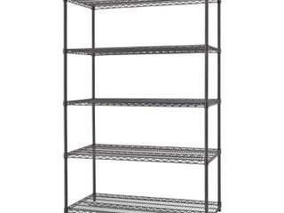 TRINITY Black Anthracite 5 Tier Steel Wire Shelving Unit  48 in  W x 72 in  H x 18 in  D