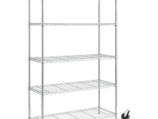 HDX Chrome Rolling 5 Tier Metal Wire Shelving Unit  48 in  W x 72 in  H x 18 in  D  Grey