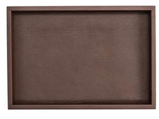 Distressed Cognac Faux leather Tray