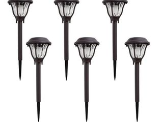 Hampton Bay Solar Bronze Outdoor Integrated lED landscape Path light with Water Patterned lens  6 Pack