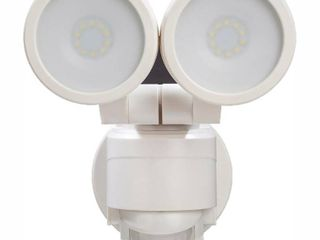 Defiant 180 White Motion Activated Outdoor Integrated lED Twin Head Flood light