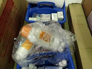 lot of Mini lotions and Bubble Bath with Plastic Totes