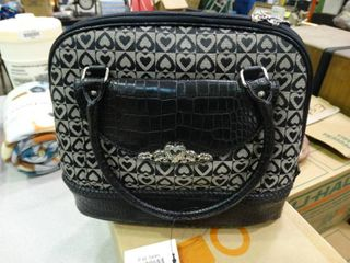 Purse with Black and Grey Heart Design