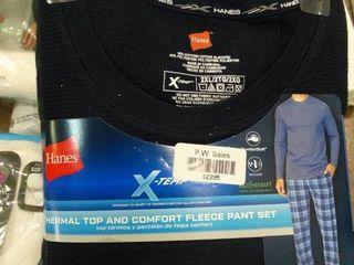 Mens Pajamas   Thermal Top and Fleece Pant Set   2Xl