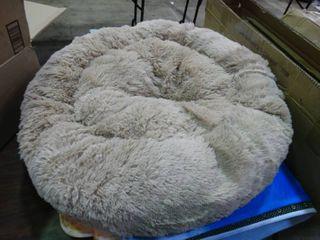 Plush Grey Dog Bed