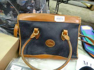 Dooney and Bourke Navy Blue and Brown Handbag