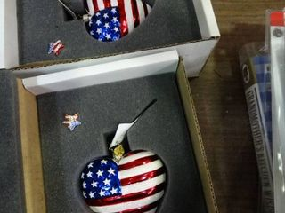 lot of 2 Christopher Radko American Flag Ornaments and Pins