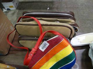 Minolta Camera with Tan Bag and a Rainbow Purse