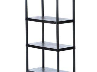 HDX Black 4 Tier Plastic Garage Storage Shelving Unit  28 in  W x 52 in  H x 15 in  D