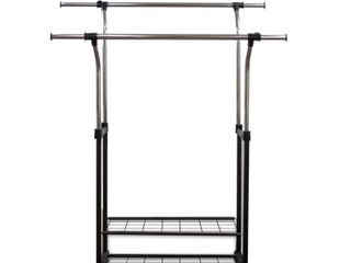 Rod Desyne Mobile 60  W Double Rail Clothes Rack with Utility Shelves