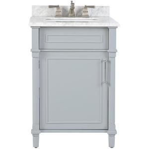 Home Decorators Collection Aberdeen 24 in  W x 22 in  D Vanity in Dove Grey with Marble Vanity Top in White with White Basin DAMAGED