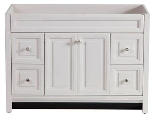 Home Decorators Collection Brinkhill 48 in  W x 34 in  H x 22 in  D Bath Vanity Cabinet Only  NO SINK  HEAVIlY DAMAGED