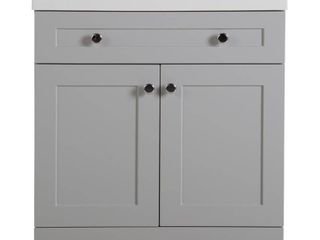 Glacier Bay Everdean 30 50 in  W x 18 75 in  D Bath Vanity   Pearl Gray with Cultured Marble Vanity Top in White with White Basin