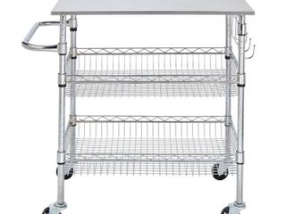 StyleWell Gatefield Chrome Kitchen Cart with Stainless Top  Chrome with Stainless Top